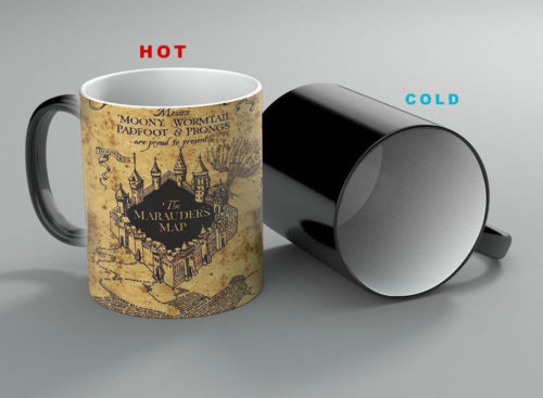 Harri Potterr Marauder's Map Heat Reveal Mug Color Change Flip Off Coffee Cup Sensitive Morphing Mugs Temperature Sensing Gift