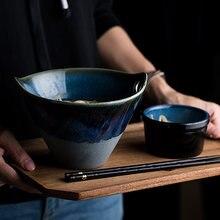 Глубокая синяя Европейская индивидуальная миска с ручкой керамическая