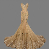 Turkey Gold Evening Dresses Long Women Sequined Applique Crystals Lace Up Back Mermaid Elegant Prom Dress