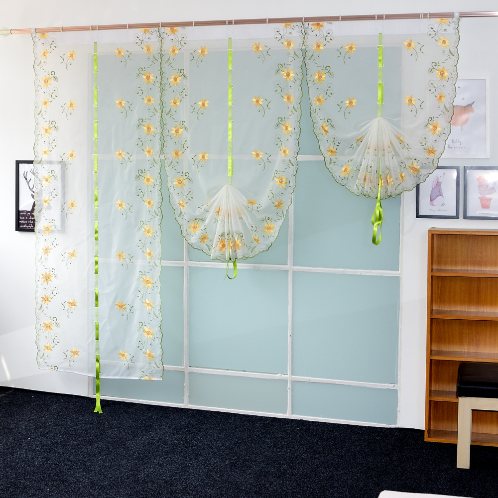 Organza embroidery pattern Flowers balloon curtain tulle blinds ...