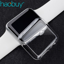 Haobuy 38mm 42mm Full Covered Crystal Ultra Thin Hard PC Plastic Tranparent Clear Protection Cover For Apple Watch Series 1 2