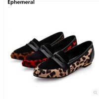 Ladies low heel shoes leopard printed pointy toe patchwork women loafers 2018 new style breathable slip on red black sizes 48 33
