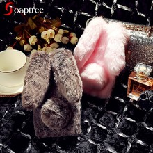 Rabbit Fur Cases For LG K10 K4 K7 K8 K9 Pro 2018 2017 Case For LG X Style Screen Cam Power 2 Q Q7 Q6 Stylus Stylo Plus 3 4 Cover(China)