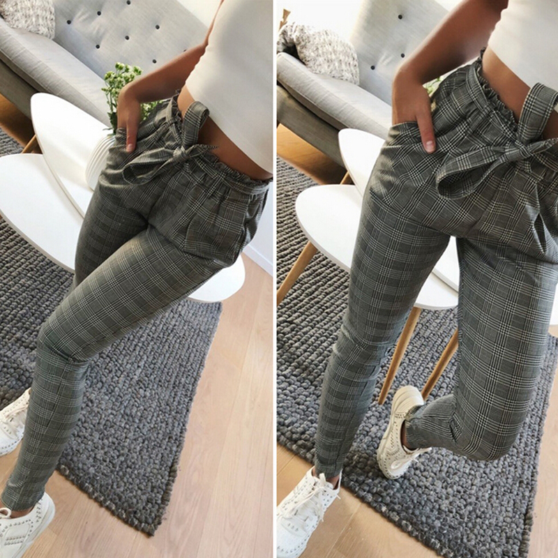 Casual Pants Female Trouser Striped OL High Waist Ankle Length Pant Bow Tie Drawstring Striped Pants