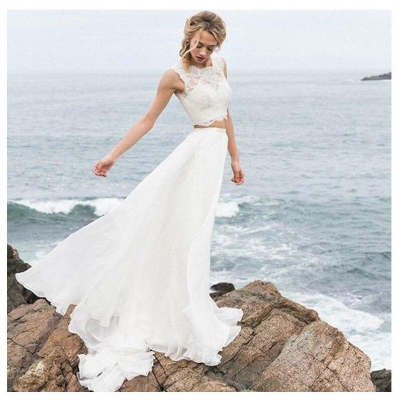 LORIE A Line Wedding Dress 2019 2 Pieces Vestido De Noiva Simple Bridal Dress Puffy Tulle Beach Wedding Dresses Lace Top