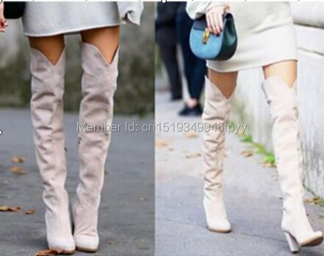 2018 Autumn Winter Women Thigh High Boots Over-the-knee Women Suede Boots Thick High Heel Fashion Women Shoes