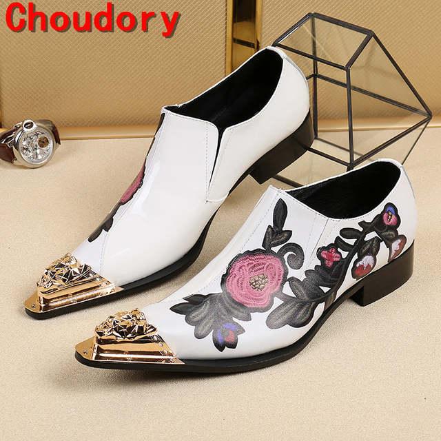 Online Shop Choudory sapato social gold toe dress shoes men floral print  elegant spike italian mens shoes slipon oxford shoes for men  b7bd22202138