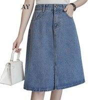 5XL Plus Size Denim Skirts Womens 2017 Fashion High Waist Jeans Skirt Women Clothing Preppy Casual