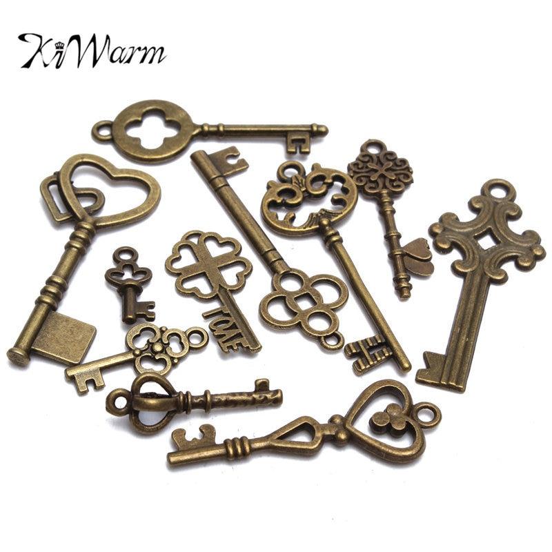 KiWarm 11Pcs Antique Vintage Old Look Bronze Skeleton Keys Fancy Heart Bow Pendant DIY Decor Ornament