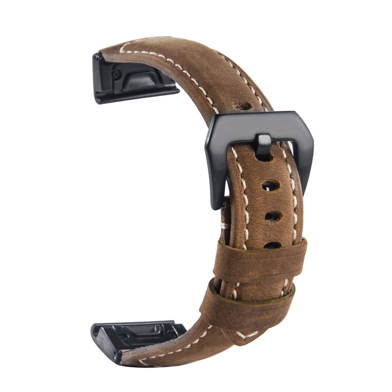 26MM Luxury Genuine Leather Watch Strap for Garmin Fenix 5x Quickfit Clasp Wristband Bracelet for Fenix 3/Fenix 3 HR/D2 Charlie stainless steel watch band 26mm for garmin fenix 3 hr butterfly clasp strap wrist loop belt bracelet silver spring bar