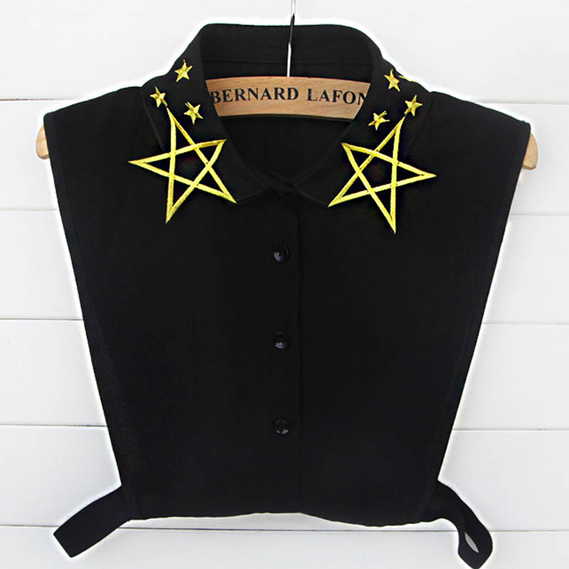 New Popular Embroidery Stars Fake Collars Womens Collar Cols Kraag Detachable Shirt Fake Collars Accessories Novelty Halt Shirt