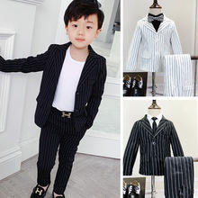 Han edition stripe suits the new spring boys and girls two-piece trousers  Fashion clothing Cotton kids clothes ALI 313