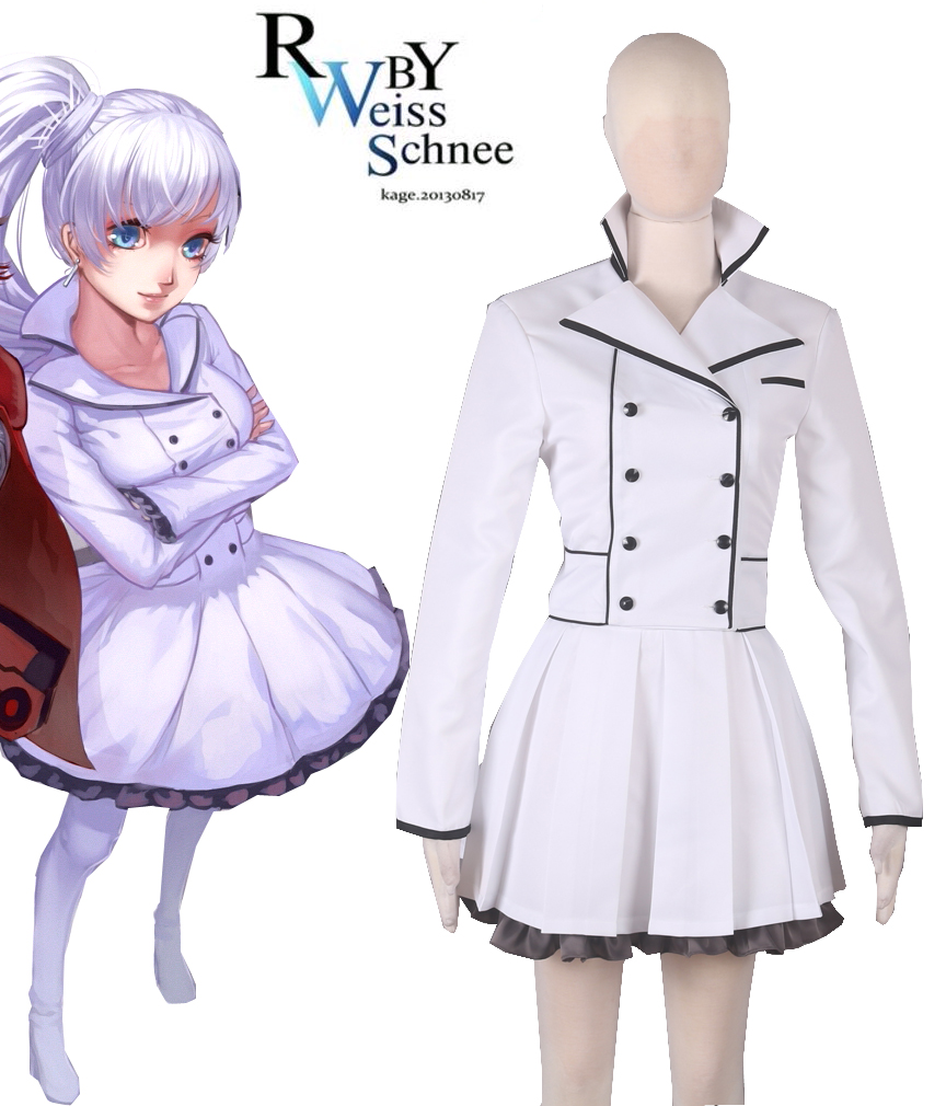 Free Shipping RWBY Season 2 White Weiss Schnee Lolita Dress Anime Cosplay Costume