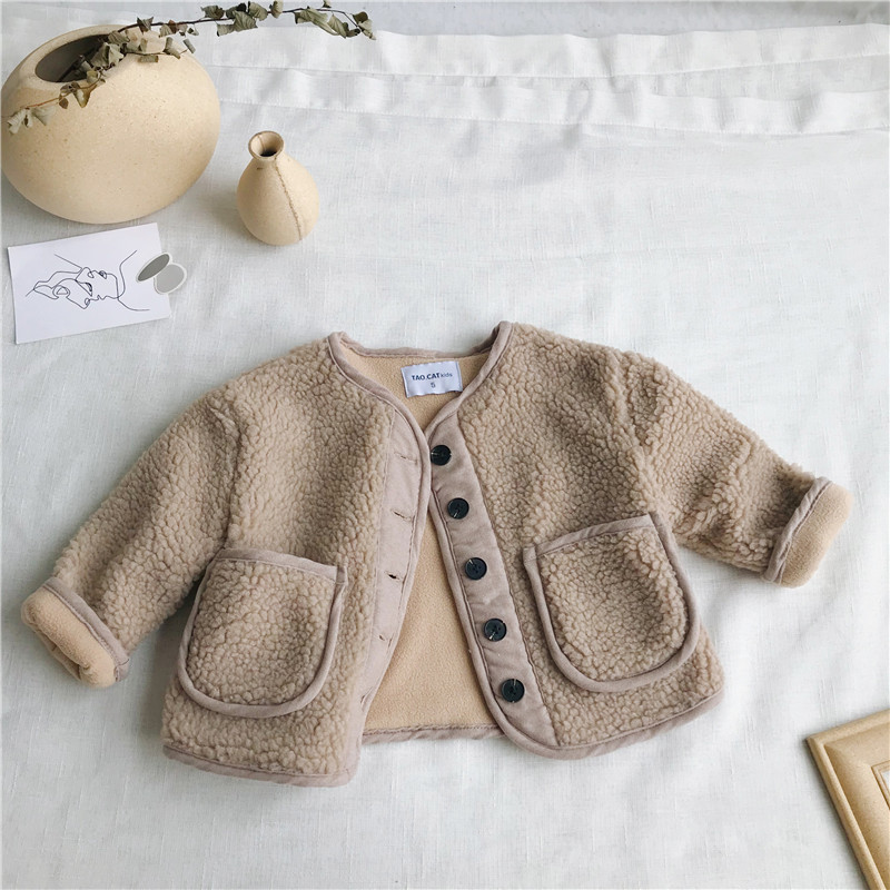 2018 Autumn Winter New Arrival Korean Version pure color woolen warm fashion thickened coat for cute sweet baby girls and boys 5