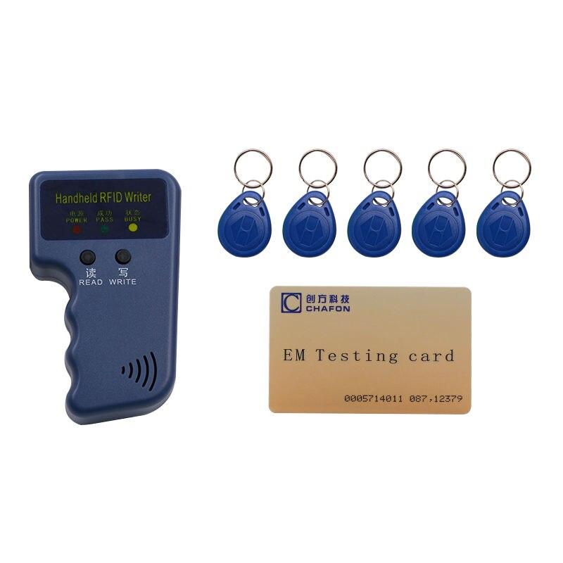 Handheld 125 Khz EM4100 RFID reader kopierer writer duplizierer (T5557/T5577/EM4305) + 5 stücke EM4305 beschreibbare keyfobs kostenloser versand
