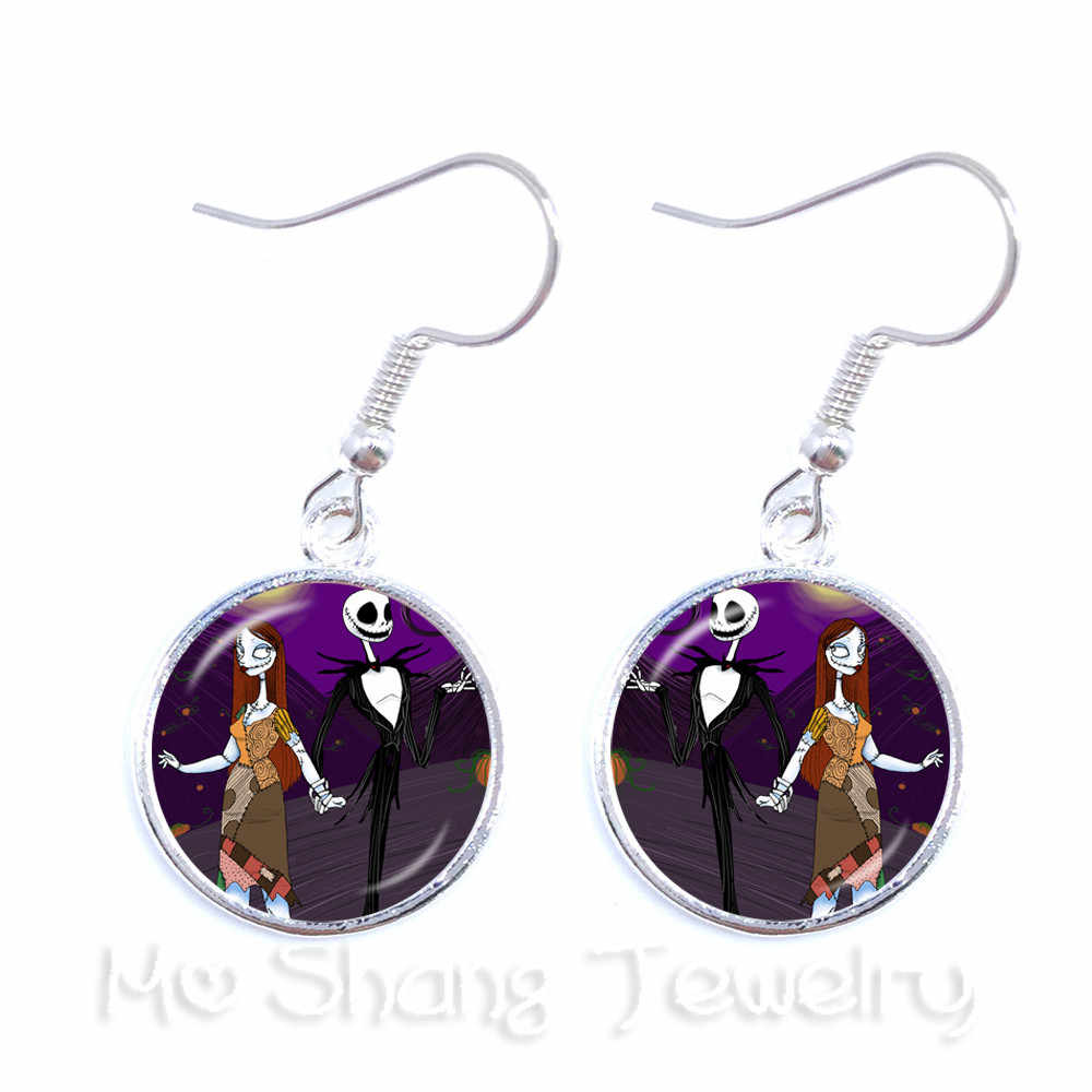 f9e283875fff8 1Pair Jack Skellington And Sally Earrings Glass Cabochon Dangle Earrings  Charms Halloween Party Jewelry Women Earrings Gifts