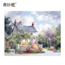 RIHE Dreamy Villa Diy Painting By Numbers Landscape Oil On Canvas Cuadros Garden Decoracion Acrylic Paint Art