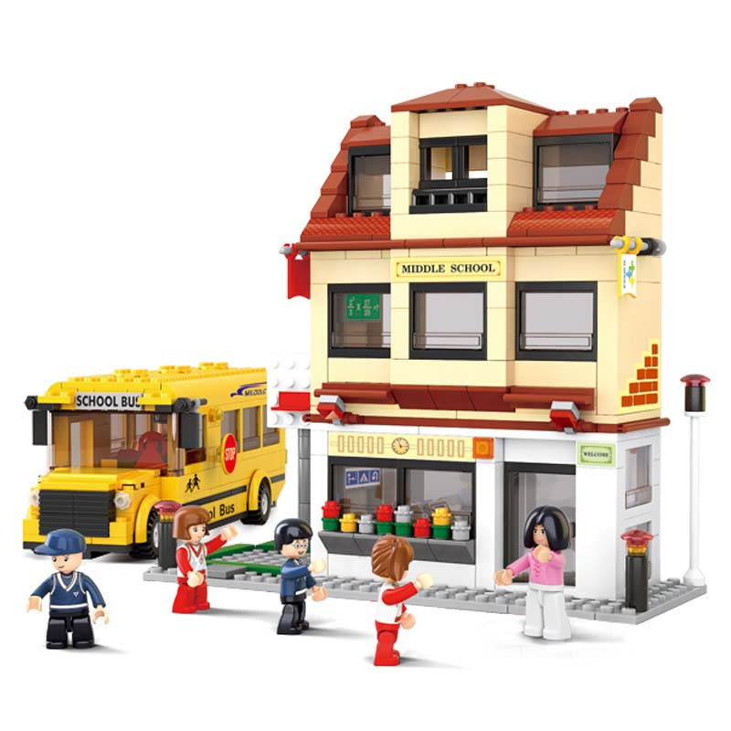 496Pcs City School Bus Model Building Blocks Compatible Legoings Educational DIY Toy Intelligence Toy Childhood Accompany building blocks stick diy lepin toy plastic intelligence magic sticks toy creativity educational learningtoys for children gift page 5