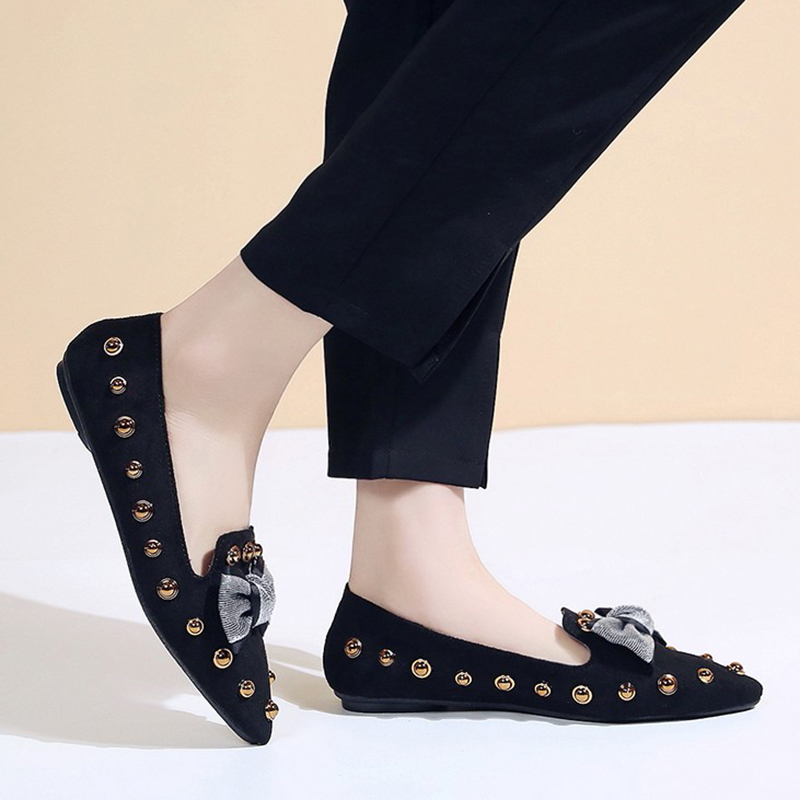 Spring Women Flats Bowtie Slip on Flat Shoes Rivets Boat Shoes Woman Casual Shoes sneaker Ladies Shoes zapatos mujer loafer 7080 12