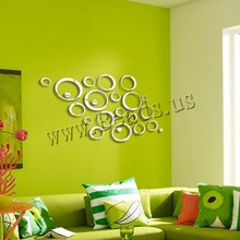 Fashion Circles Mirror Style Removable Decal Vinyl Art Wall Sticker Home Decor 10pcs/lot