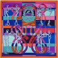 100% Twill Шелковый Шарф Женщин 130*130 см Евро Дизайн Веревки Ремни Печатных Квадратные Шарфы Дамы Подарок Шаль Высокого качество 5 Цвета