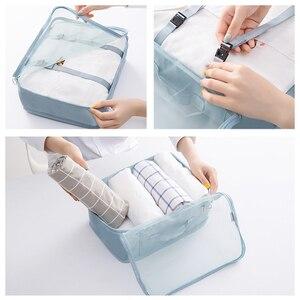 Image 5 - Kit de acessórios de viagem, 8 pçs/set, desenhos animados, de qualidade, malha, organizador de bagagem, embalagem, cubo para roupa íntima, saco