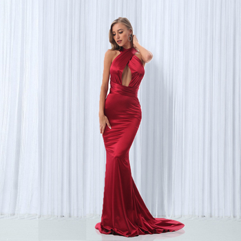 2019 Sexy Mermaid Satin Dresses Floor Length Evening Party Dress Hollow Out DIY Straps Bodycon Backless Evening Gown Dress