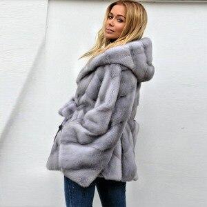 Image 4 - Abrigo de piel de visón auténtica con capucha Chaqueta de manga de murciélago para mujer, abrigo de piel auténtica con cinturón, MKW 107 Natural de piel auténtica para invierno 2019