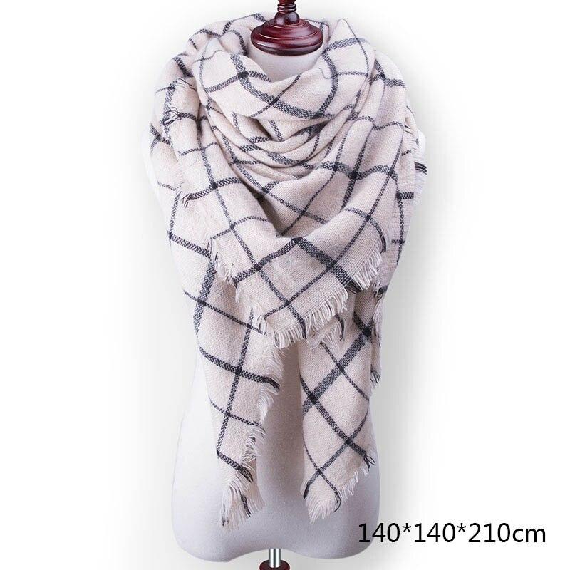 Горячая Распродажа, Модный зимний шарф, Женские повседневные шарфы, Дамское Клетчатое одеяло, кашемировый треугольный шарф,, Прямая поставка - Цвет: A12