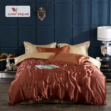 SlowDream Luxury 100% Silk Bedding Set Bedspread Fitted Sheet Duvet Cover Euro Rubber On Elastic Band Decor Home