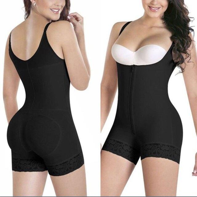 d6b8282d2ca14 Women Full Body Shaper Slip Suit Powernet Shapewear LATEX Waist Trainer  Girdle Slim Corset Tummy Control Bodysuit Post Surgery