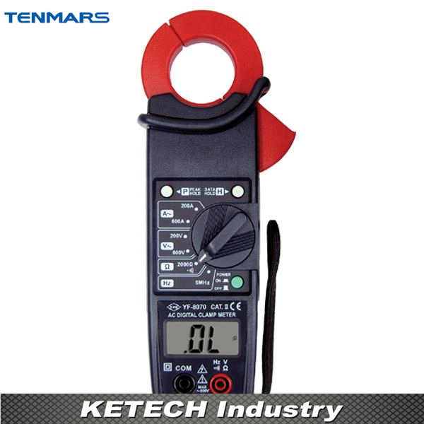 600V 3-1/2 Digit LCD with Maximum Reading of 2000 AC Clamp Meter TENMARS YF8070 hf 1 8 lcd 3 digit thermocouple