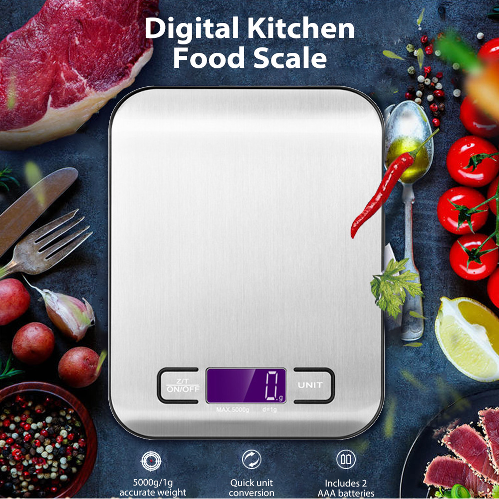 Stainless Steel Digital LCD Kitchen Scale Portable Balance Digital Scale  Electronic Postal Platform Baking Diet Food Weight
