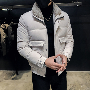 Hair lapel cotton men's Korean version of the trend handsome cotton jacket 2019 new winter warm jacket thick cotton clothing