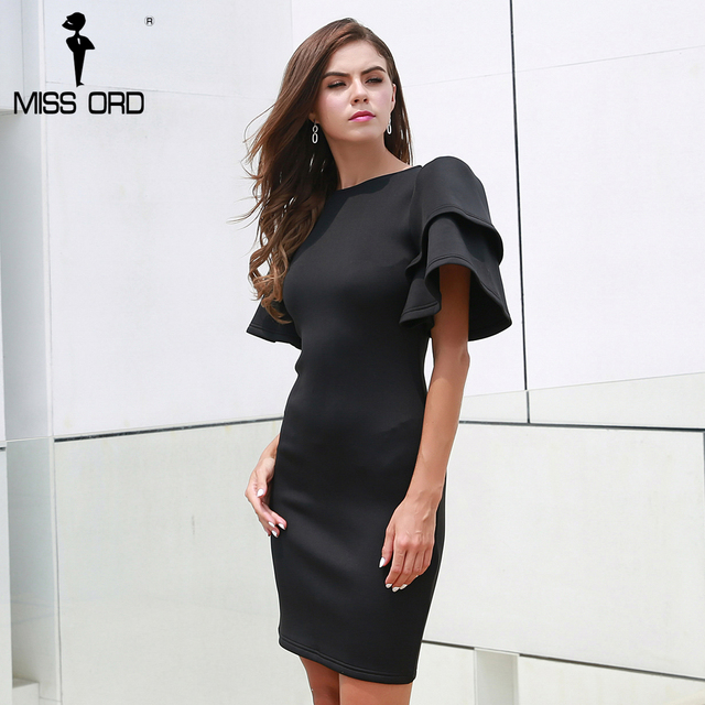 Missord 2019 Autumn And Winter Sexy O-neck Butterfly Sleeve Solid color Elegant  Dress FT8337