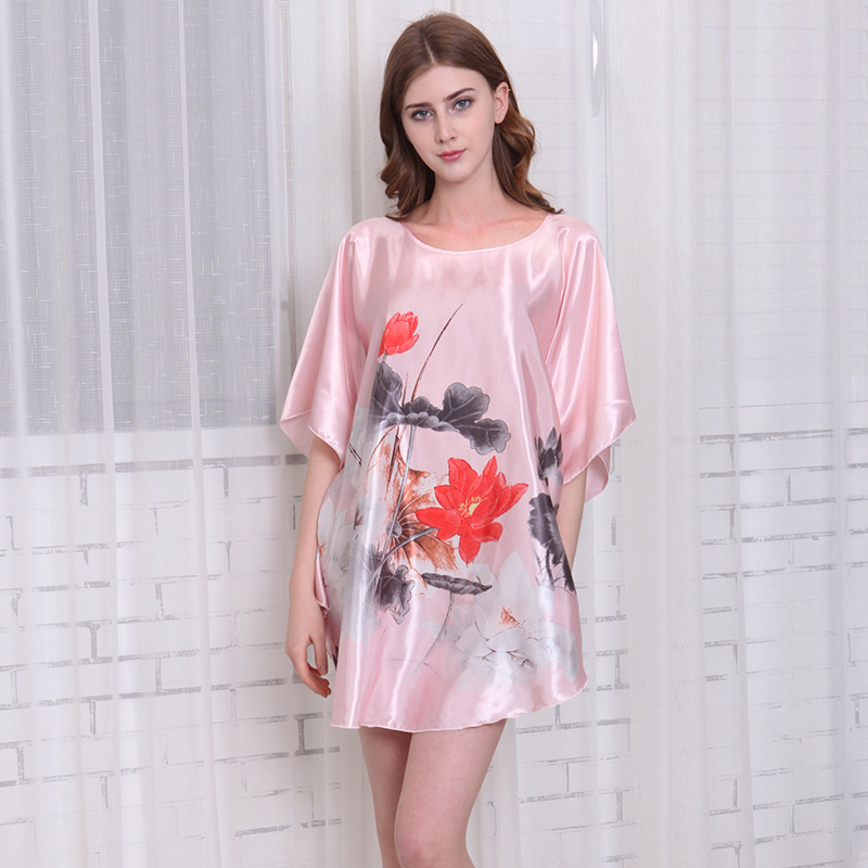 2016 Summer Silk Sexy   Nightgowns   Women Elegant   Sleepshirts   Printed Plus Size Lounge Butterfly Sleeves Coffee Female Nightdress