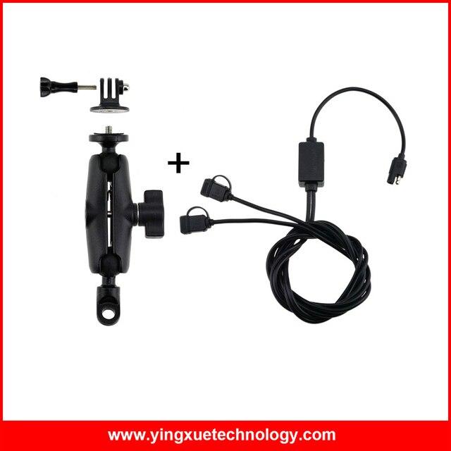 Мотоцикл Тяжелых Зеркало Заднего вида Горе Стенд с 1 дюймов резиновый Мяч и Dual USB Порт 12-24 В 2.4A USB Зарядное Устройство для Gopro