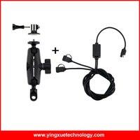 Moto Heavy Duty Miroir Arrière Vue Mount Stand avec 1 pouce Balle en caoutchouc et Double USB Port 12-24 V 2.4A USB Chargeur pour Gopro