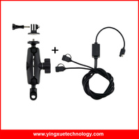 Motorcycle Heavy Duty Mirror Rear View Mount Stand with 1 inch Rubber Ball and Dual USB Port 12 24V 2.4A USB Charger for Gopro