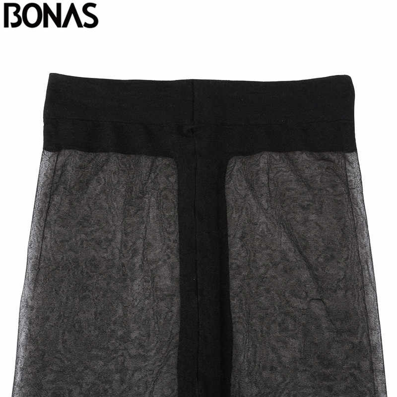 BONAS 15D タイツ女性ナイロン薄型パンティ春 T 股セクシーなストッキングファッション女性 Collant 透明ストッキング Europn サイズ