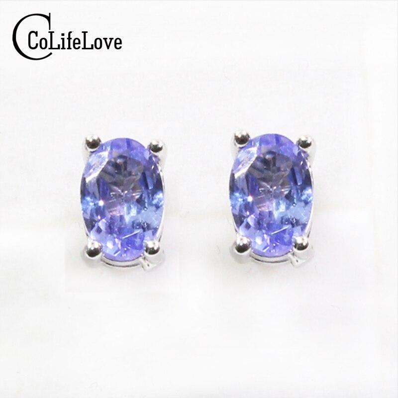 Dazzing tanzanite stud earrings 4 6mm natural tanzanite gemstone earrings solid 925 silver tanzanite earring small