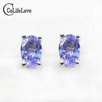 Dazzing tanzanite stud earrings 4*6mm natural tanzanite gemstone earrings solid 925 silver tanzanite earring small gem earrings