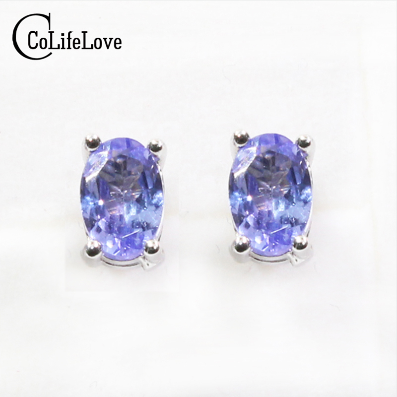 Dazzing tanzanite stud earrings 4*6mm natural tanzanite gemstone earrings solid 925 silver tanzanite earring small gem earrings anmor make up brushes professional powder duo fibre eyeshadow makeup tool synthetic makeup brushes set with black bag