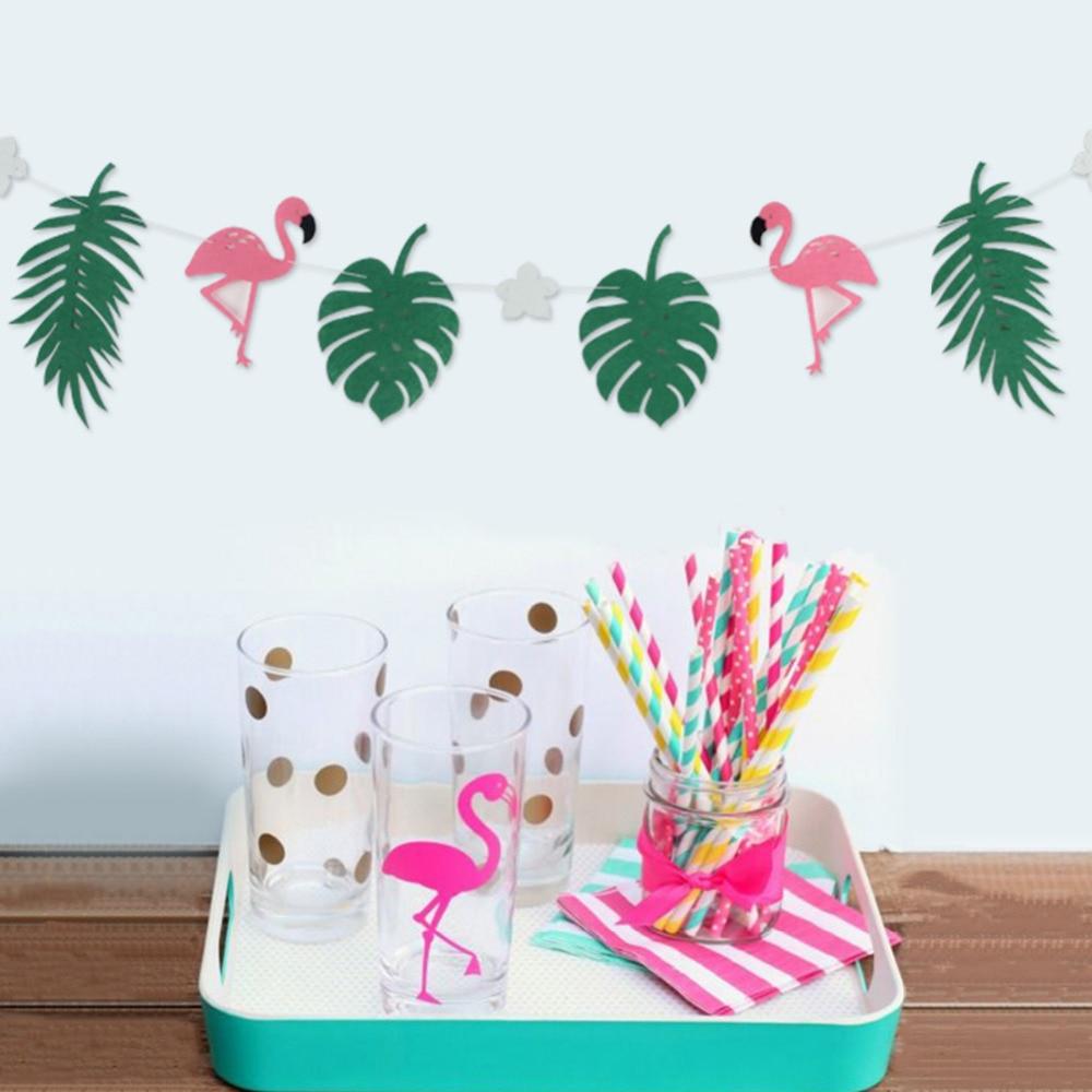 Flamingo And Leaves Banner Bunting Wedding Decoration Photo Backdrop ...