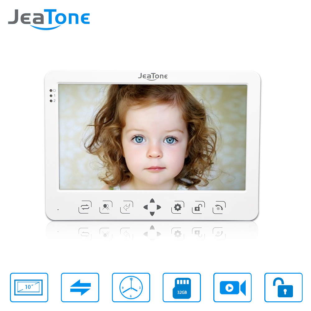 JeaTone 10 Inch HD Video Door Phone Doorbell Video Door Phone Intercom Home System Indoor Unit Colorful Monitor