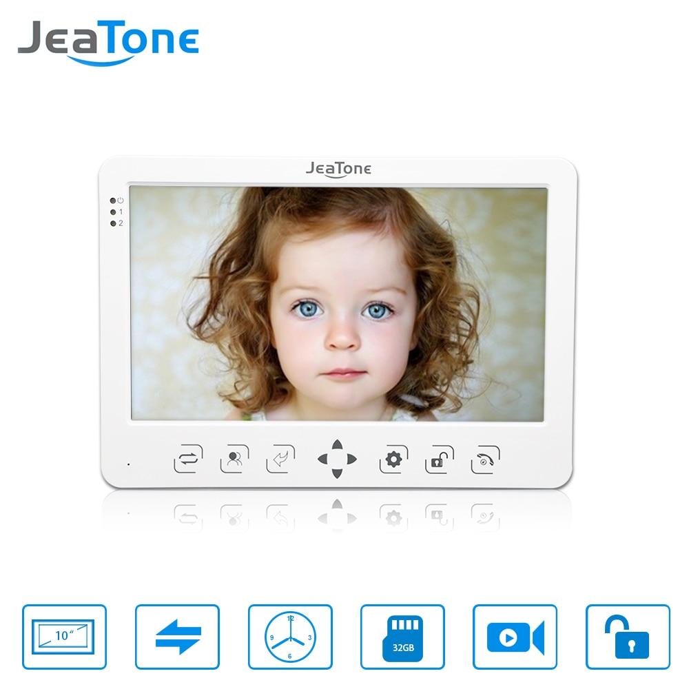 JeaTone 10 Inch HD Video Door Phone Doorbell Video Door Phone Intercom Home System Indoor Unit Colorful Monitor