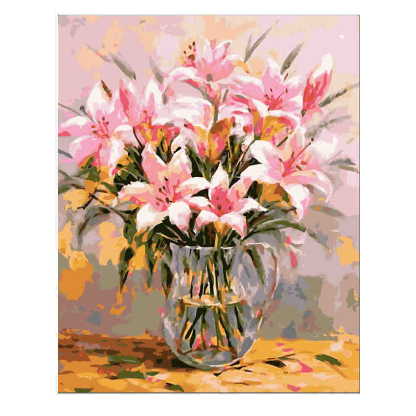 RIHE Pink Lily Painting By Numbers Flower Vase Oil Painting On Canvas Hand Painted Cuadros Decoracion Acrylic Paint Home Decor