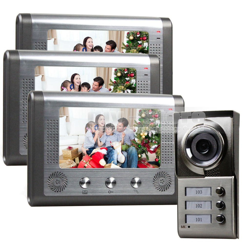 Diysecur waterproof new 7 inch video door phone doorbell for Door intercom