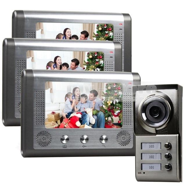 DIYSECUR Waterproof New 7 inch Video Door Phone Doorbell Intercom Door Lock System Kit 1 Camera 3 Monitors IR Night Vision