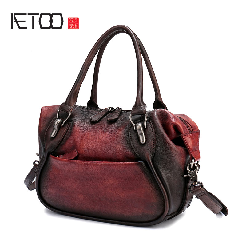 AETOO New style leather handbag fashion Joker first layer of leather portable diagonal shoulder bag commuter female dumplings pa qiaobao 2018 new korean version of the first layer of women s leather packet messenger bag female shoulder diagonal cross bag